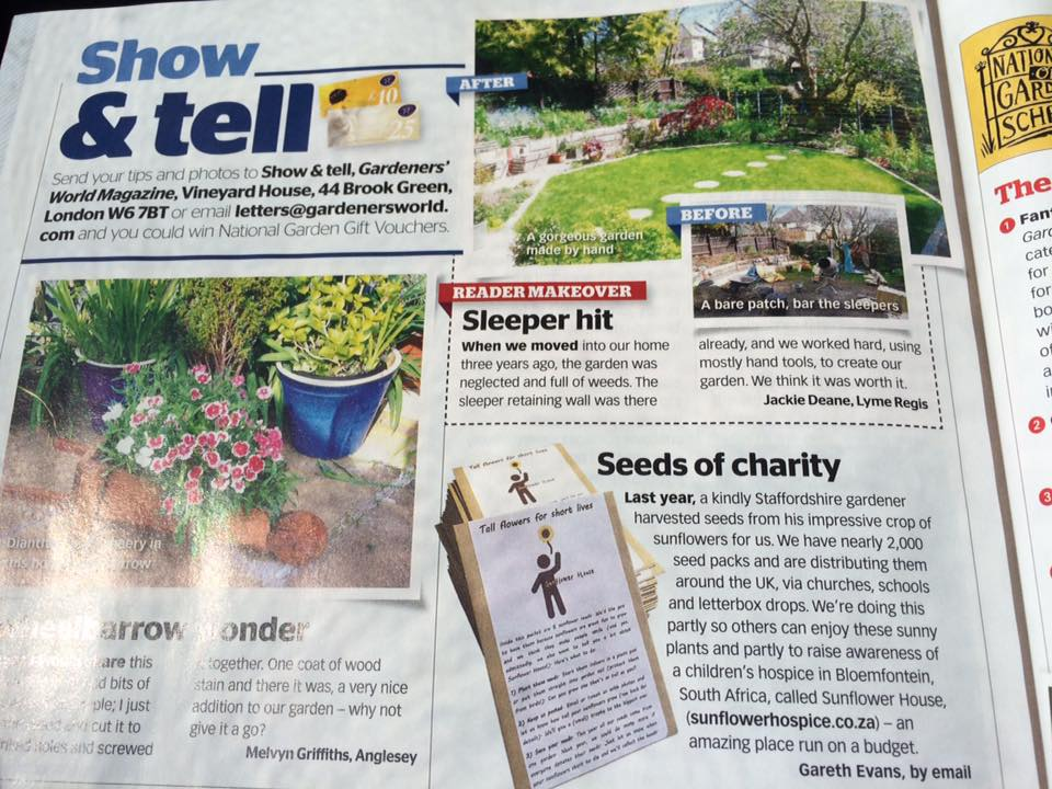 - But those challenges were always outweighed by the pleasant surprises: including a bit of publicity in Gardeners' World magazine!